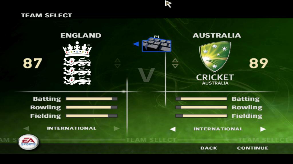 Ea cricket 2007 match menu